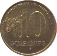 reverse of 10 Guaraníes - FAO (1996) coin with KM# 178a from Paraguay. Inscription: ALIMENTOS PARA EL MUNDO 10 GUARANIES