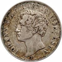 obverse of 1 Reichsthaler - Johann - Visit to Mint by King Johann (1855) coin with KM# 1187 from German States. Inscription: IOHAN V.G.G. KOENIG V. SACHSEN F