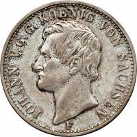 obverse of 1/3 Reichsthaler - Johann (1856) coin with KM# 1191 from German States. Inscription: IOHAN V.G.G. KOENIG VON SACHSEN F