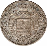 reverse of 1/3 Reichsthaler - Johann (1856) coin with KM# 1191 from German States. Inscription: 3 EINEN THALER 48 EINEN F.MARK *18 56*