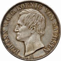 obverse of 1 Vereinsthaler - Johann - Smaller text (1861) coin with KM# 1211 from German States. Inscription: IOHANN V.G.G.KOENIG VON SACHSEN B