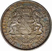 reverse of 1 Vereinsthaler - Johann - Smaller text (1861) coin with KM# 1211 from German States. Inscription: EIN VEREINSTHALER XXX EIN PFUND FEIN 1861