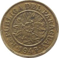 obverse of 5 Céntimos (1944 - 1947) coin with KM# 21 from Paraguay. Inscription: REPUBLICA DEL PARAGUAY 1947