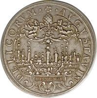 reverse of 1 Thaler - Ferdinand II (1624 - 1627) coin with KM# 27 from German States. Inscription: · AVGVSTA · VIN DELICORVM · MDCXXVII