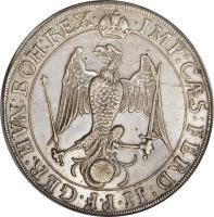 obverse of 1/2 Thaler - Ferdinand II (1627) coin with KM# 48 from German States. Inscription: · IMP:C · S:FERD:II · P · F · GER:HVN:BOH:REX ·