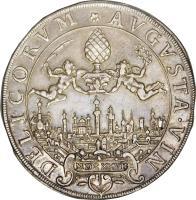 reverse of 1/2 Thaler - Ferdinand II (1627) coin with KM# 48 from German States. Inscription: AVGVSTA · VIN DELICORVM * MDCXXVII