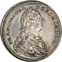 obverse of 1/4 Thaler - Franz I (1745) coin with KM# 154 from German States. Inscription: FRANCISCUS · I · D · G · ROM · IMP · S · A · T