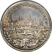 reverse of 1/4 Thaler - Franz I (1745) coin with KM# 154 from German States. Inscription: AUGUSTA VINDELICORUM MDCCXLV ·