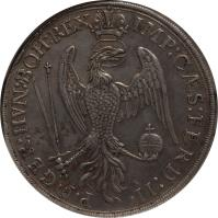 reverse of 1 Thaler - Ferdinand II (1626) coin with KM# 41 from German States. Inscription: P.F.GER:HVN:BOH:REX IMP:CAES:FERD:II.