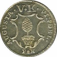 obverse of 5 Kreuzer (1766) coin with KM# 186 from German States. Inscription: AUGUSTA . V*K . VINDEL.
