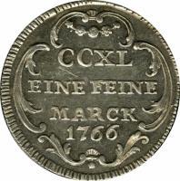 reverse of 5 Kreuzer (1766) coin with KM# 186 from German States. Inscription: CCXL EINE FEINE MARCK 1766