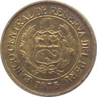 obverse of 1/2 Sol de Oro (1975 - 1976) coin with KM# 265 from Peru. Inscription: BANCO CENTRAL DE RESERVA DEL PERU 1976