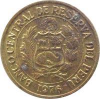 obverse of 1 Sol de Oro - Larger; No mintmark (1975 - 1976) coin with KM# 266.1 from Peru. Inscription: BANCO CENTRAL DE RESERVA DEL PERU 1975
