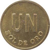 reverse of 1 Sol de Oro - Larger; No mintmark (1975 - 1976) coin with KM# 266.1 from Peru. Inscription: UN SOL DE ORO