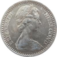 obverse of 25 Cents - Elizabeth II - 2'nd Portrait (1964) coin with KM# 4 from Rhodesia. Inscription: ELIZABETH THE SECOND