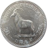 reverse of 25 Cents - Elizabeth II - 2'nd Portrait (1964) coin with KM# 4 from Rhodesia. Inscription: RHODESIA 2/6 · 1964 · 25c