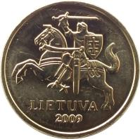 obverse of 10 Centų (1997 - 2014) coin with KM# 106 from Lithuania. Inscription: LIETUVA 2009