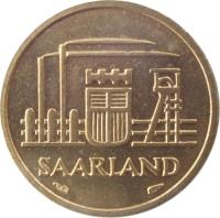 obverse of 10 Franken (1954) coin with KM# 1 from Saarland. Inscription: SAARLAND