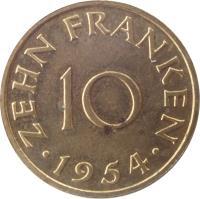 reverse of 10 Franken (1954) coin with KM# 1 from Saarland. Inscription: ZEHN FRANKEN 10 · 1954 ·