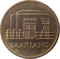 obverse of 20 Franken (1954) coin with KM# 2 from Saarland. Inscription: SAARLAND