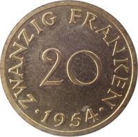 reverse of 20 Franken (1954) coin with KM# 2 from Saarland. Inscription: ZWANZIG FRANKEN 20 · 1954 ·
