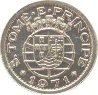 obverse of 10 Centavos (1971) coin with KM# 15a from São Tomé and Príncipe. Inscription: S. TOME PRINCIPE 1971