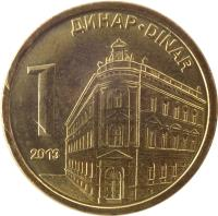 reverse of 1 Dinar - 2'nd Coat of Arms; Magnetic (2011 - 2014) coin with KM# 54 from Serbia. Inscription: ДИНАР-DINAR 1 2013