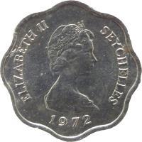 obverse of 5 Cents - Elizabeth II - FAO - 2'nd Portrait (1972 - 1975) coin with KM# 18 from Seychelles. Inscription: ELIZABETH II SEYCHELLES 1972