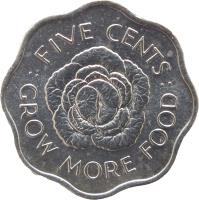reverse of 5 Cents - Elizabeth II - FAO - 2'nd Portrait (1972 - 1975) coin with KM# 18 from Seychelles. Inscription: :FIVE CENTS: GROW MORE FOOD