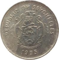 obverse of 1 Rupee (1982 - 2010) coin with KM# 50 from Seychelles. Inscription: REPUBLIC OF SEYCHELLES · 1997 ·