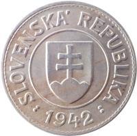 obverse of 1 Koruna (1940 - 1945) coin with KM# 6 from Slovakia. Inscription: SLOVENSKÁ REPUBLIKA : 1942 :