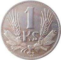 reverse of 1 Koruna (1940 - 1945) coin with KM# 6 from Slovakia. Inscription: 1 Ks