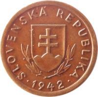 obverse of 10 Halierov (1939 - 1942) coin with KM# 1 from Slovakia. Inscription: SLOVENSKÁ REPUBLIKA