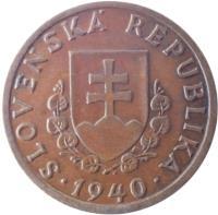 obverse of 20 Halierov (1940 - 1942) coin with KM# 4 from Slovakia. Inscription: SLOVENSKÁ REPUBLIKA 1940