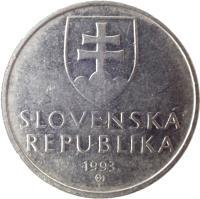 obverse of 5 Korún (1993 - 2008) coin with KM# 14 from Slovakia. Inscription: SLOVENSKÁ REPUBLIKA year of mintage (1994) Z