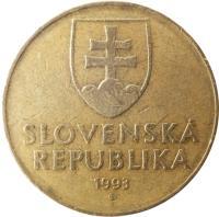 obverse of 10 Korún (1993 - 2008) coin with KM# 11 from Slovakia. Inscription: SLOVENSKÁ REPUBLIKA 1993 Z