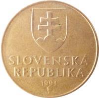 obverse of 1 Koruna (1993 - 2008) coin with KM# 12 from Slovakia. Inscription: SLOVENSKÁ REPUBLIKA year of mintage (2005) Z