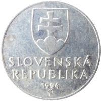 obverse of 10 Halierov (1993 - 2003) coin with KM# 17 from Slovakia. Inscription: SLOVENSKÁ REPUBLIKA year of mintage (1999) Z
