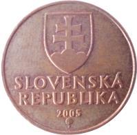 obverse of 50 Halierov (1996 - 2008) coin with KM# 35 from Slovakia. Inscription: SLOVENSKÁ REPUBLIKA 2005 Z