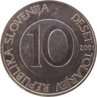 obverse of 10 Tolarjev (2000 - 2006) coin with KM# 41 from Slovenia. Inscription: REPUBLIKA SLOVENIJA DESET TOLARJEV 10 2004