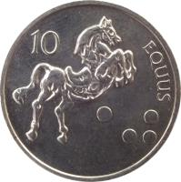 reverse of 10 Tolarjev (2000 - 2006) coin with KM# 41 from Slovenia. Inscription: 10 EQUUS