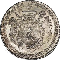 obverse of 1/4 Thaler - Johann Friedrich Karl (1763) coin with KM# 342 from German States.
