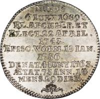 reverse of 1/4 Thaler - Johann Friedrich Karl (1763) coin with KM# 342 from German States.