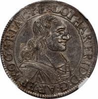 obverse of 60 Kreuzer - Lothar Friedrich von Metternich Burscheid (1673 - 1675) coin with KM# 123 from German States. Inscription: LOTHAR:FRID:D:G:AR:FP:MOG:S:R:I:A:C:P:E