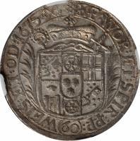 reverse of 60 Kreuzer - Lothar Friedrich von Metternich Burscheid (1673 - 1675) coin with KM# 123 from German States. Inscription: EP:WOR:ET:SPIR:PP:WEIS:ET:OD:1675