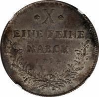 reverse of 1 Thaler - Friedrich Karl Josef (1794) coin with KM# 400 from German States. Inscription: * X * EINE FEINE MARCK 1794