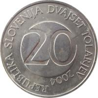 obverse of 20 Tolarjev (2003 - 2006) coin with KM# 51 from Slovenia. Inscription: REPUBLIKA SLOVENIJA DVAJSET TOLARJEV 20 2004