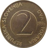 obverse of 2 Tolarja (1992 - 2006) coin with KM# 5 from Slovenia. Inscription: REPUBLIKA SLOVENIJA DVA TOLARJA 2 2004