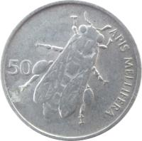 reverse of 50 Stotinov (1992 - 2006) coin with KM# 3 from Slovenia. Inscription: APIS MELLIFERA 50