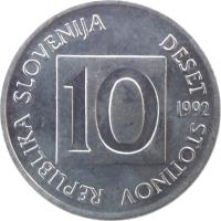 obverse of 10 Stotinov (1992 - 2006) coin with KM# 7 from Slovenia. Inscription: REPUBLIKA SLOVENIJA DESET STOTINOV 10 1992